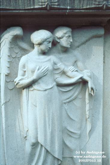 Cologne, Germany, Cemetery West - Angel, leading a woman by her hands - Photo by Andrigamo